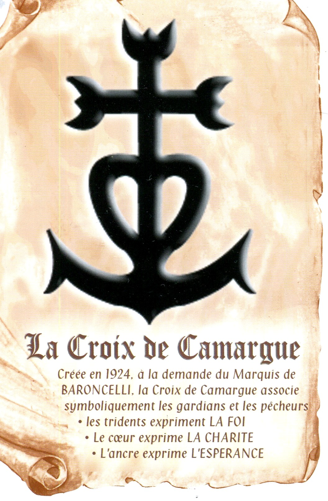 f44ce358a7a The Camargue cross was designed specifically for the town of Saintes-Maries- de-la-Mer. Thousands of smaller versions can now be bought in every tourist  shop ...